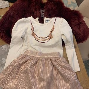 Janie and jack skirt top and fur coat